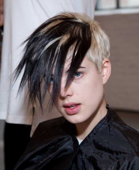 Black and Blonde Colored Spiky Hairstyle