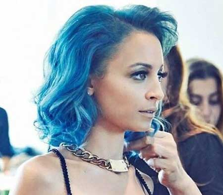 Blue Colored Short Curly Hairstyle for Girls