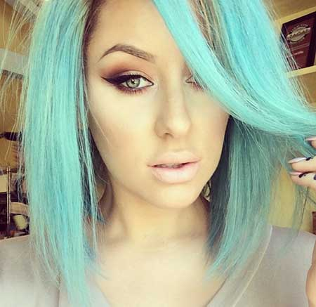 Sea Blue Colored Hair Idea for Girls