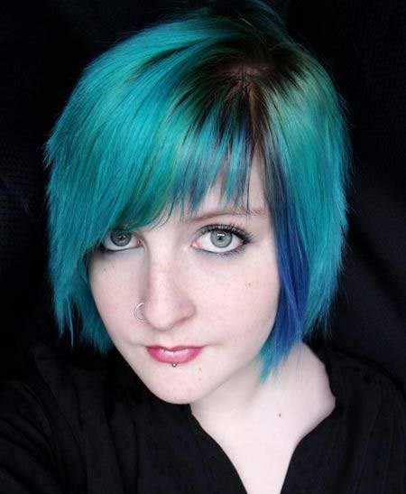 Peacock Colored Short Blunt Hairdo for Women