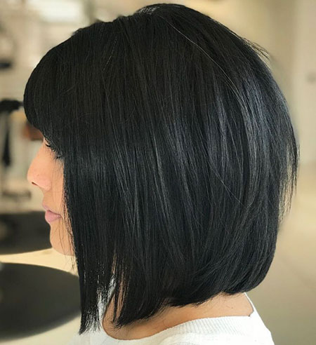Straight Bob with Bangs, Bob Hair Black Layered