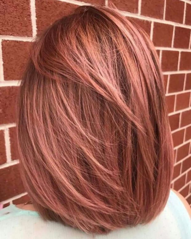 Beautiful Rose Gold Hair Color Ideas 29