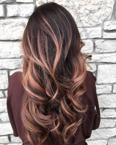 Instagram Meganleebeauty Long Wavy Brunette Hair With Rose Gold Balayage Highlights