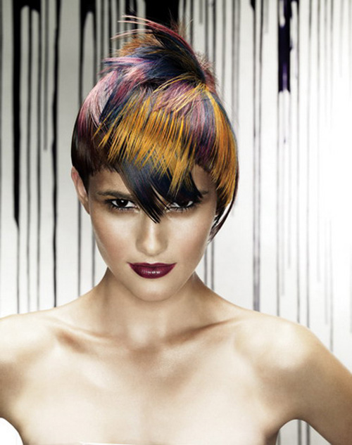 Colorful And Short Rainbow Hairstyle Picture