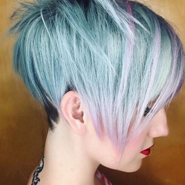 Long Pixie Undercut With Blue And Purple Hints