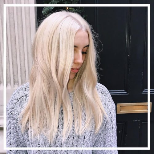 Long Relaxed Platinum Blonde Hair Color