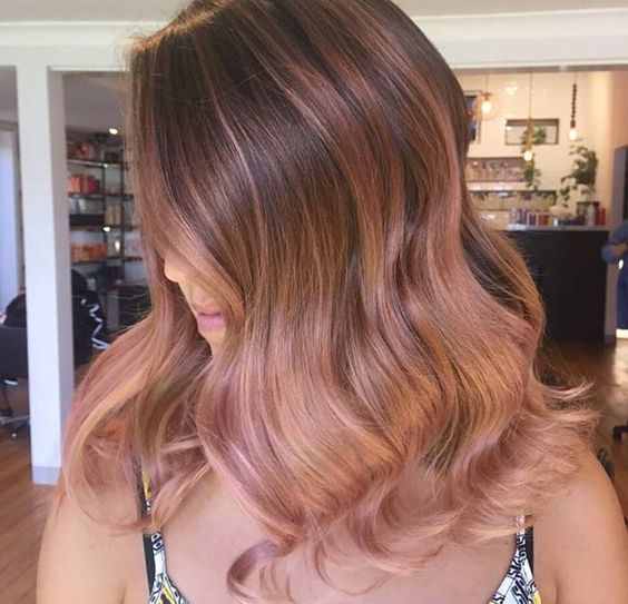 Trends 2018 Gold Rose Hair Color Blush Balayage