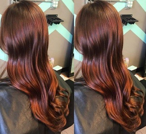 long reddish brown hair
