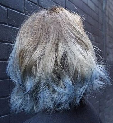 pastel blue ombre for ash blonde hair