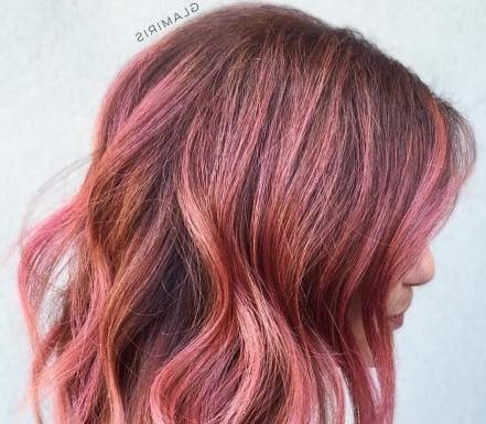 Medium Length Rose Gold Balayage Hair