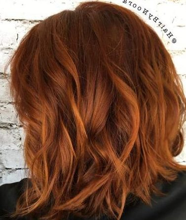 Wavy Copper Bob Hairstyle