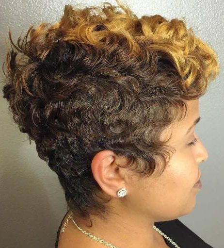African American Brown And Blonde Pixie