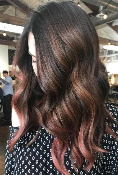 Partial Caramel And Pink Balayage