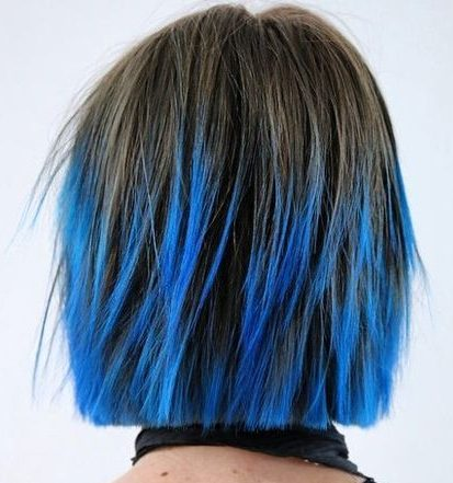 short choppy haircut with blue balayage