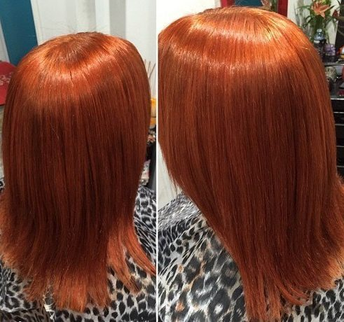 medium straight copper hairstyle
