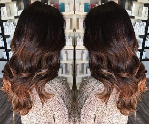 dark brown hair with medium brown ombre highlights